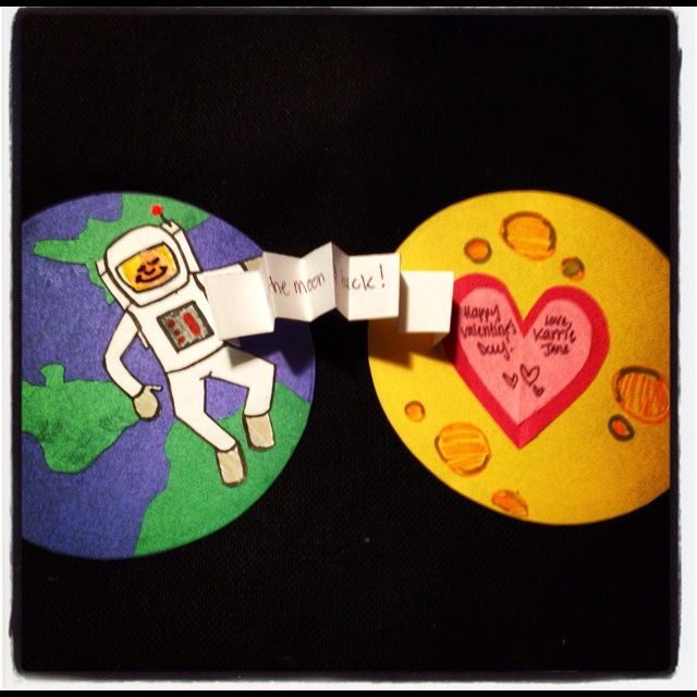 """I made this card for my boyfriend for valentines day! """"love you to the moon and back"""""""