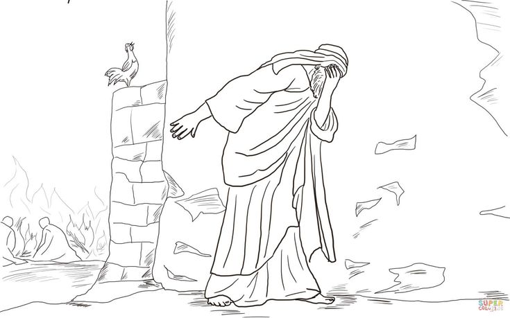 Peter Denies Jesus Three Times coloring page | Free ...