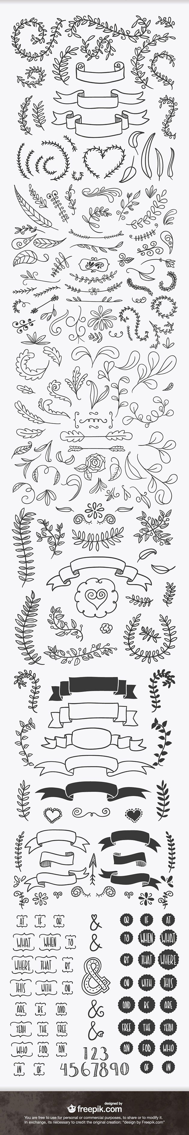 handsketched_design_elements_ribbons_laurels_preview