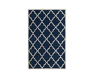 Ковер - 100% шерстяное волокно - синий, 121х182 см