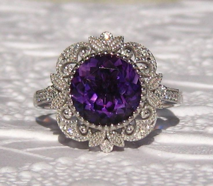 Amethyst in White Gold Milgrain Bezel Filigree Engagement Ring, Vintage Inspired Filigree Amethyst Ring