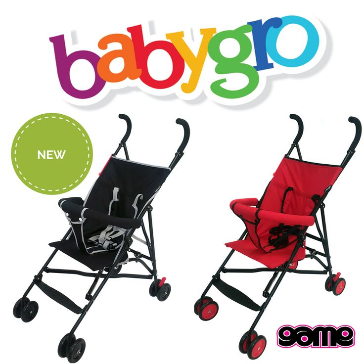 NEW Babygro Baby Buggies Now available at a Game store near you! - Suitable from 6 months (max 15kg) - Comfortable wide seat - Lockable rear swivel wheels - Front swivel wheels - One touch brake system - Front suspension - Soft grip handles - Easy one-hand folding - Compact storage - Lightweight steel frame - 5 Point safety harness with shoulder protectors