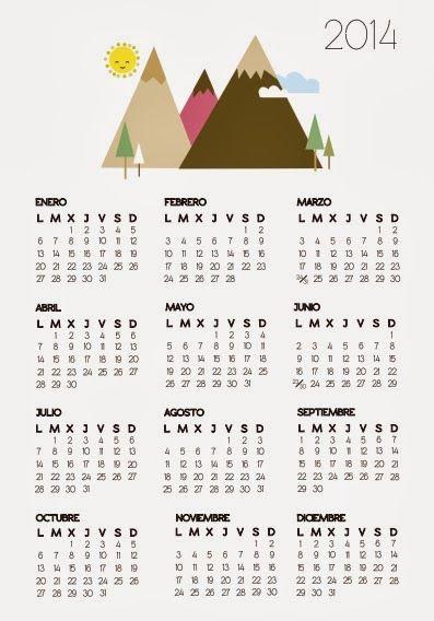 Calendario 2014 para imprimir gratis. http://dibujos-para-colorear.euroresidentes.com/2013/10/calendario-2014-para-imprimir.html