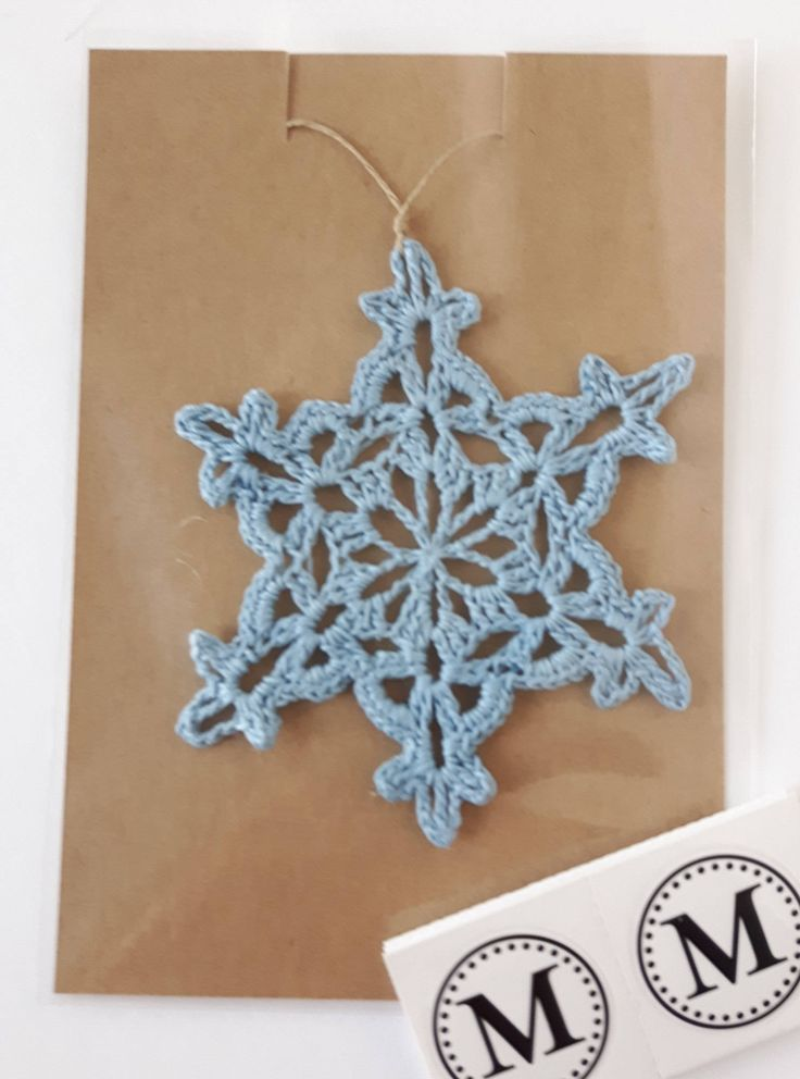 Crochet Snowflake in Blue Christmas Ornament by MiraCrafting on Etsy