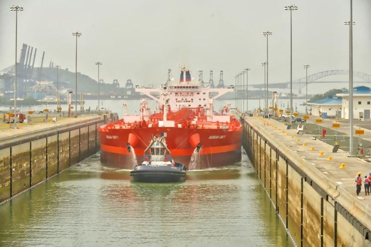 The MT Aegean Unity becomes the first crude oil tanker to transit the Expanded Canal, August 18, 2016. Photo: Panama Canal Authority / gCaptain