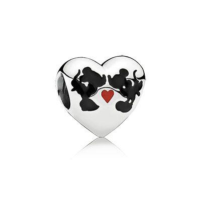 Minnie & Mickey kiss #PANDORAcharm #PANDORAlovesDisney | www.goldcasters.com