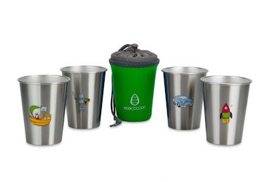 NEW LOOK ecococoon Boys Adventure 4 cup set. Comes with Cup Cuddler perfect for storing and travelling with 4 cups - Pirate, Rocket, Vintage Car and Rock 350ml cups.   RRP $44.95