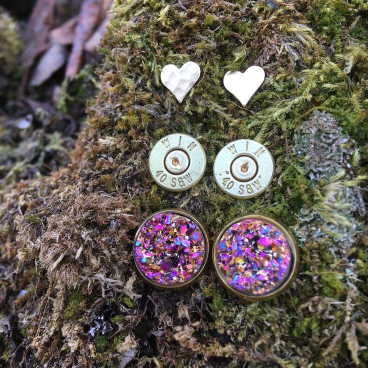 Triple pack bullet earrings Druzy hearts