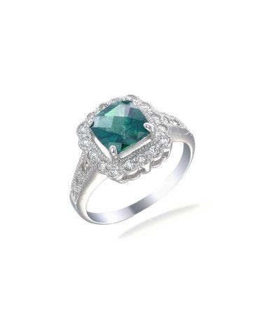 Take a look at this Green Topaz & Cubic Zirconia Cushion-Cut Ring on zulily today!