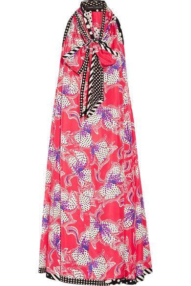 MARC JACOBS Pussy-Bow Printed Silk-Satin Midi Dress. #marcjacobs #cloth #dresses