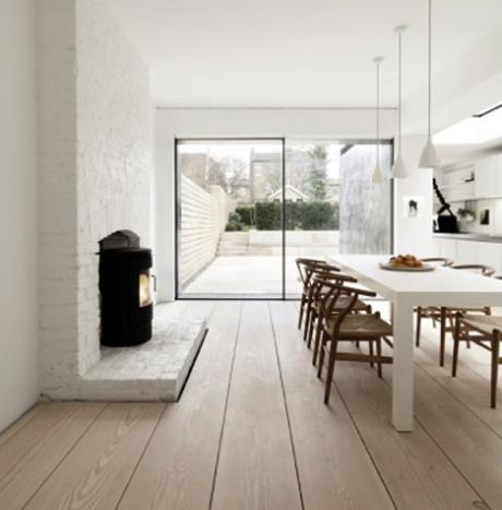 Simple yet beautiful kitchen. Love wide floorboards
