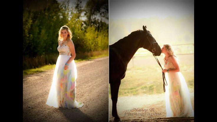 Graduation photo #photography #graduation #pretty #dress #horse  Pretty grad photo