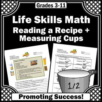 Life Skills Cooking Reading a Recipe Math Measurement Spec …