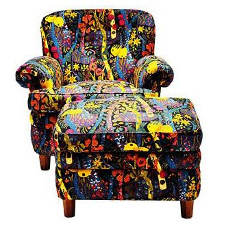 JW: chair with crazy pattern by Josef Frank -- too wild for lil ol' me
