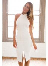 White Halter Turtleneck Midi Dress