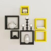 Set Of 6 Square Wall Shelves SH854