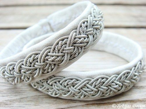 sami bracelets | Sami Lapland Swedish Reindeer Leather Bracelet - White - Yggdrasil