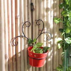 Red Wall Mount Metal Planter