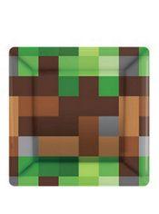 Minecraft Party Ideas Pixelated Dessert Plates 8ct