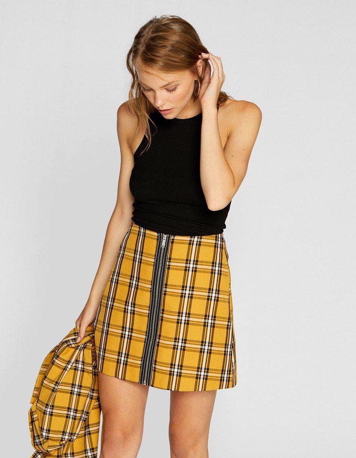 16db2907d5 Checked mini skirt with zip - null | Stradivarius United Kingdom ...