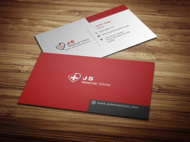 17 best business card design images on pinterest business card this medical business card template is designed in a strong confident red color scheme it includes designs both for the front side and for the back sides reheart