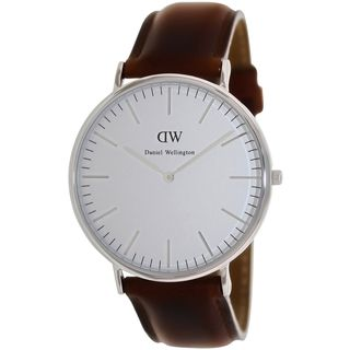 Daniel Wellington Mens Classic St. Andrews Brown Leather Quartz Watch | Overstock.com Shopping - Big Discounts on More Brands Men's Watches