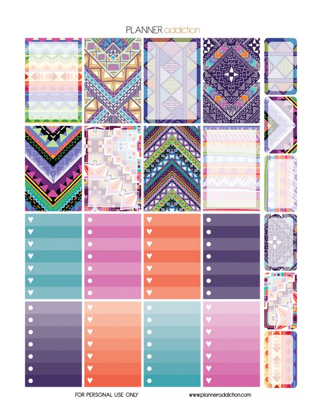 Weekly Set – Tribal Aztec | Planner Addiction | Bloglovin'