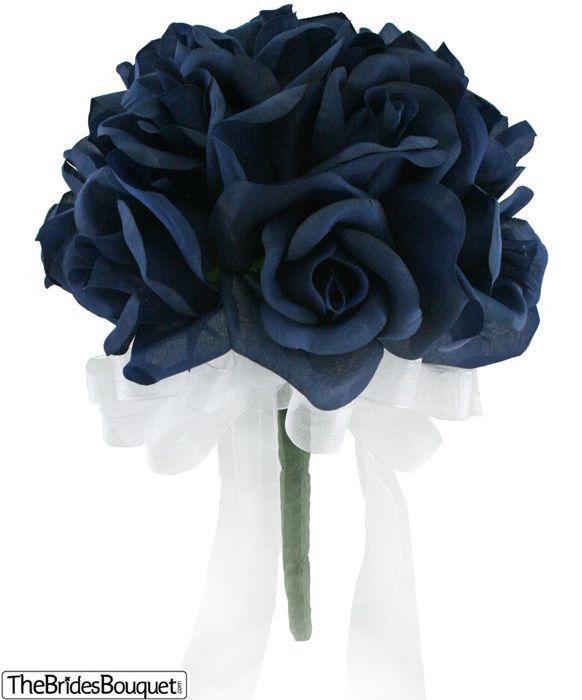 silver and navy blue wedding dress | Navy Blue Silk Rose Toss Bouquet -1 Dozen Silk Roses - Bridal Wedding ...