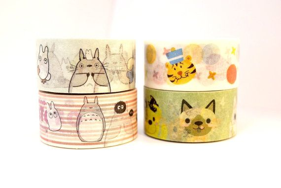 TOTORO 10m high quality WASHI tape CARTOON cat by MyChildhoodDream