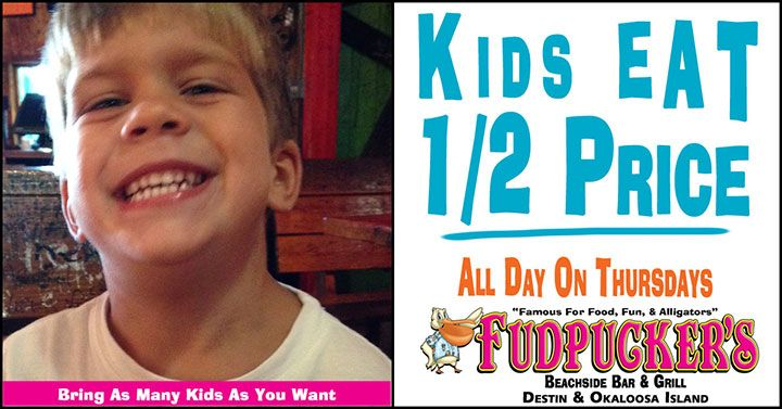 Destin FL Kids Eat Half Price Thursdays  ||  Food Specials in Destin and Okaloosa Island  ||  Things to do with kids in Destin  ||  Fudpuckers