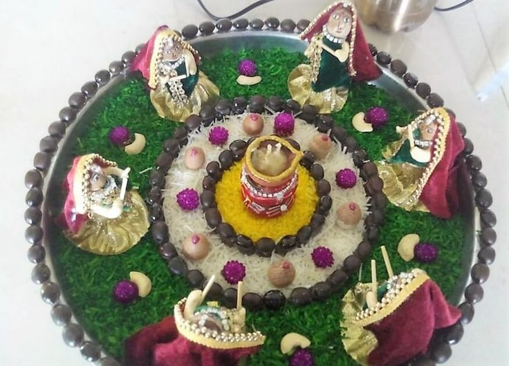 Navratri aarti thali decoration ideas decor sewing art for Aarti thali decoration ideas for ganpati