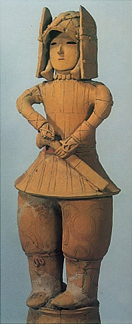 The Kofun period (AD.250-AD.592) art,Haniwa terracotta clay figure.   Soldier. Gunma Japan.