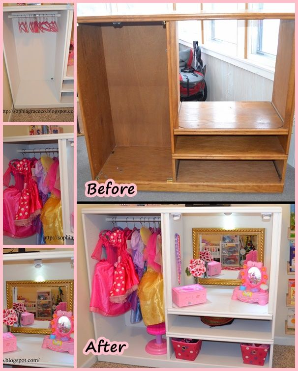 This dress up makeover idea is awesome ! It's perfect for any princess ! Can you believe it made from old TV stand ? http://wonderfuldiy.com/wonderful-diy-princess-dress-up-makeover/  #DIY #recycling #makeover