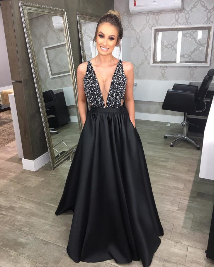 50411c85ba18 60 modelos de vestido longo preto para você arrasar em qualquer ocasião