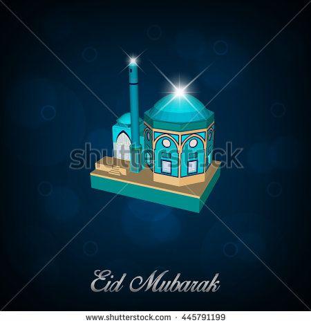 Eid Mubarak Islamic Greeting Banner Background Isometric Style with glow