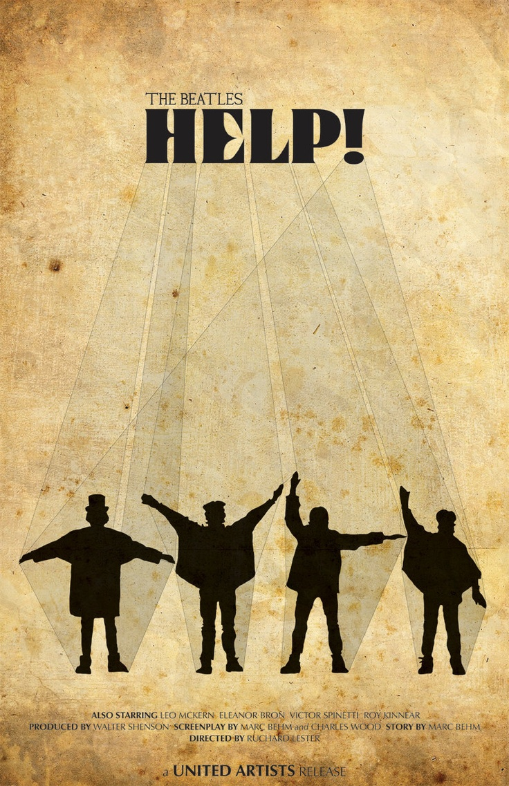 Poster design help - Not Just Anybody Help Alternate Movie Poster The Beatles Silhouettes And Vintage Typography Print