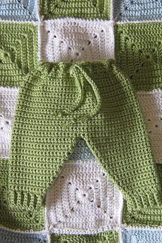 "Baby crochet ""jogging"" pants - free pattern. (love the blanket, too)"