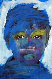 Portraitübermalung, Kunstunterricht Grundschule, Anke Kremer