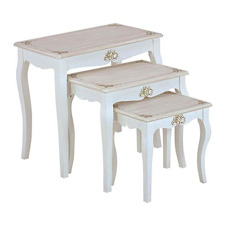 S/3 WOODEN COFFEE TABLE IN WHITE/BEIGE COLOR 66X39X60