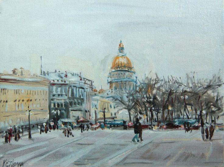 #landscape#city#cityscape#grey#art#paint#oil paint#painting#Petersburg