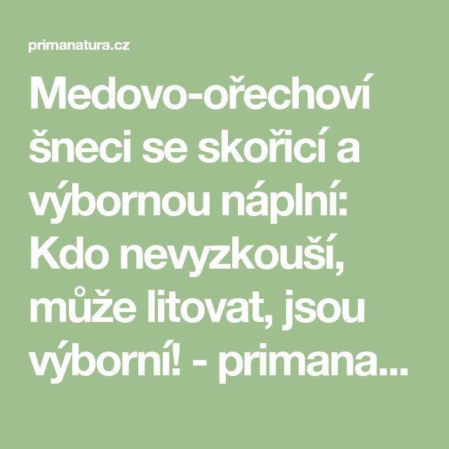 Medovo-ořechoví šneci se skořicí a výbornou náplní: Kdo nevyzkouší, může litovat, jsou výborní! - primanatura.cz