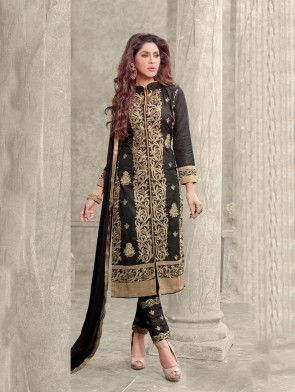 Black Cotton Suit with Embroidery Work