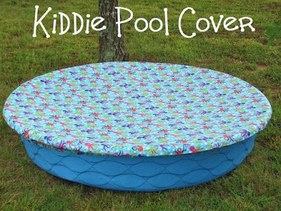 Mama To Three Chicks: Kiddie Pool Cover - I don't even know how to sew and this still looks easy! I'm thinking to use it as a sandbox cover (made using a kiddie pool similar to this one) To make one that is waterproof, you could start with a really big round vinyl tablecloth.