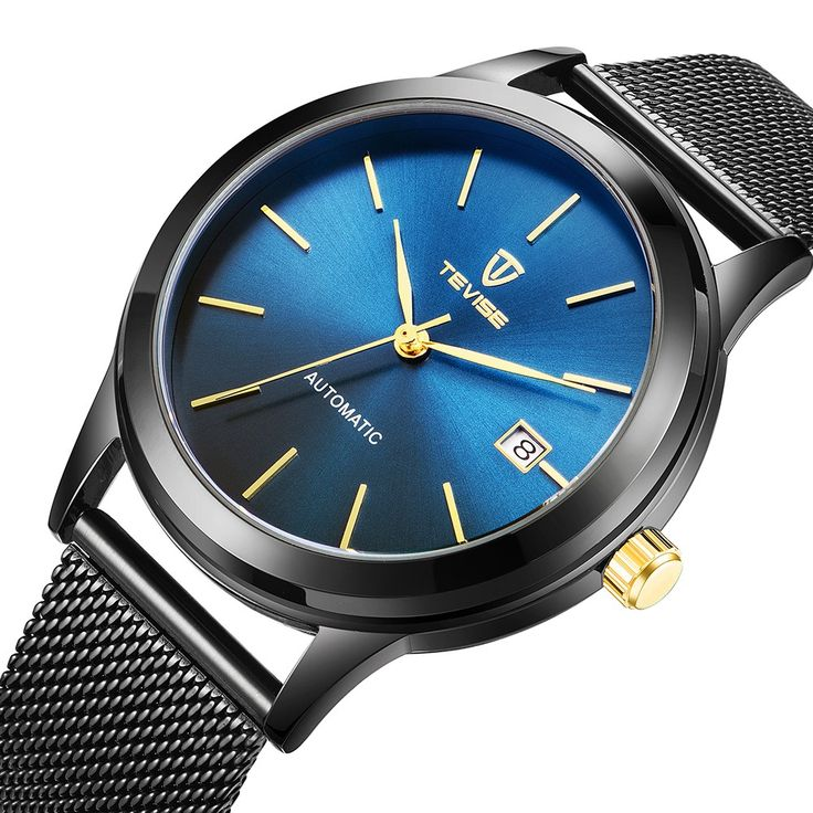 TEVISE Brand Luxury Gold Automatic Mechanical Men Watch black - Tomtop.com