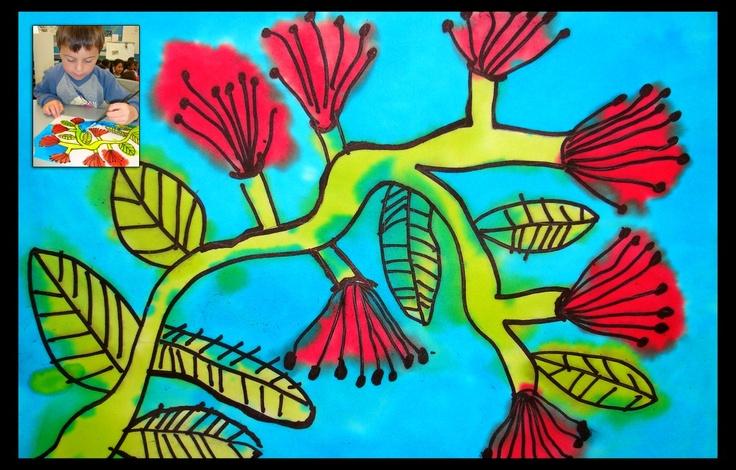 Calendar art - vivid and dye pohutakawa (no bleach)