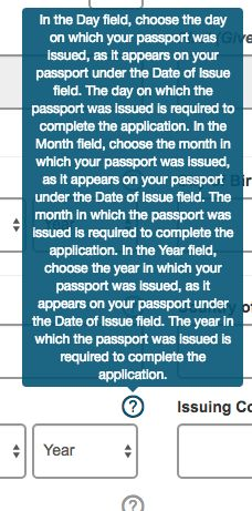 Whilst trying to complete an ESTA (USA visa) the help icons show you messages such as this.
