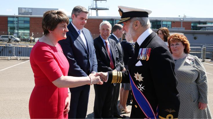 First Minister Arlene Foster, Northern Ireland Secretary of State Theresa Villiers and Prince Michael of Kent attended the special memorial at Alexandra Dock, where HMS Caroline is moored.
