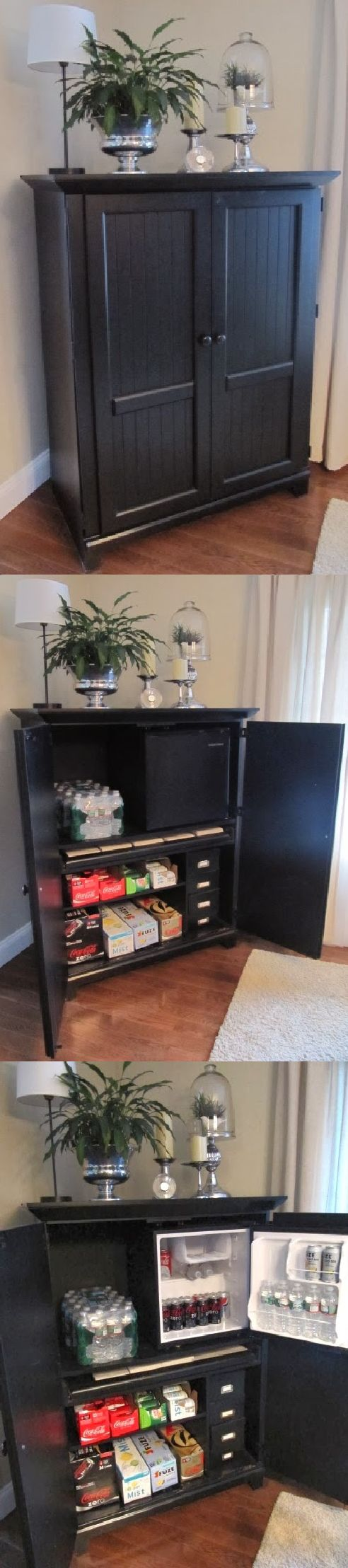 Take an armoire or computer cabinet and turn it into a beverage center! Place a mini fridge inside to keep things cold and use the shelves for storing the cases of pop, water, beer, or whatever your drink of choice is. You can even use the pull out key board tray to hold napkins! Use in your dining room, family room, basement, or even your outdoor kitchen!