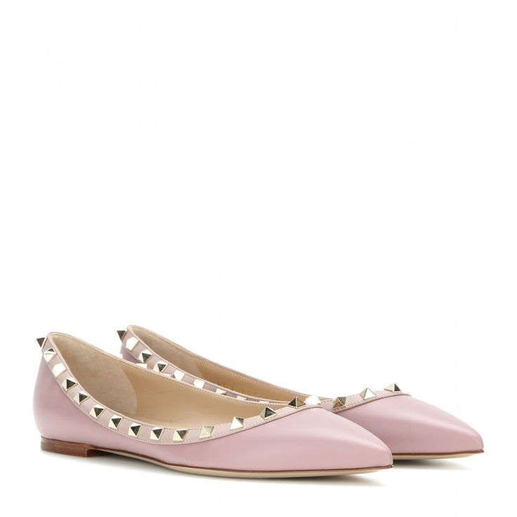 Valentino - Rockstud leather ballerinas - In smooth pink leather, they're  topped off