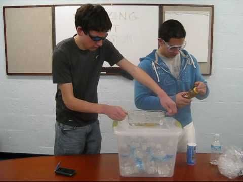 Lowering the freezing point of water by adding copious amount of salt.